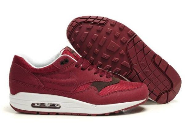 Nike Air Max 1 Mens Trainers Burgundy White